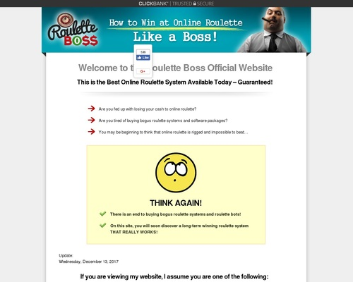 Roulette Boss - How To Win At Online Roulette Like a Boss! - Welcome To The Roulette Boss Official Website!